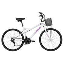 Bicicleta Mobilidade Caloi Ventura Aro 26 - com Cesto Freio V-Brake  21 Velocidades - Branca -