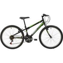 Bicicleta MTB Aro 24 Masculina V-Brake Preta 18v - Polimet