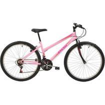 Bicicleta MTB Aro 26 Feminina V-Brake Rosa 18v - Polimet