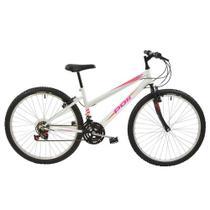 Bicicleta MTB Aro 26  V-Brake 18 Marchas Feminina Branca - Polimet 7146 -