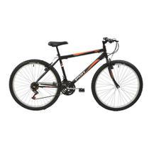 Bicicleta MTB Aro 26  V-Brake 18 Marchas Masculina Preta - Polimet 7134 -