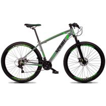 Bicicleta MTB Aro 29 Quadro 15 Alumínio 21 Marchas Freio Mecânico Volcon Cinza/Verde - GT Sprint -