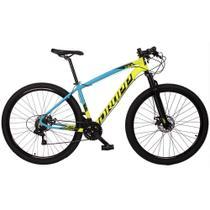 Bicicleta MTB Aro 29 Quadro 15 Alumínio 21v Freio Disco Mecânico Z7-X Amarelo/Azul - Dropp -