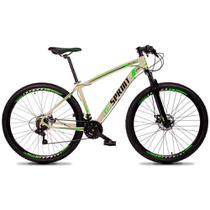 Bicicleta MTB Aro 29 Quadro 17 Alumínio 21 Marchas Freio Mecânico Volcon Creme/Verde - GT Sprint -
