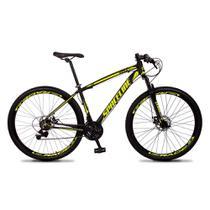 Bicicleta MTB Aro 29 Quadro 19 Alumínio 21 Marchas Freio Mecânico Vega Preto/Amarelo - Spaceline -