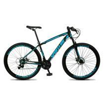 Bicicleta MTB Aro 29 Quadro 19 Alumínio 21 Marchas Freio Mecânico Vega Preto/Azul - Spaceline -