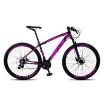 Bicicleta MTB Aro 29 Quadro 19 Alumínio 21 Marchas Freio Mecânico Vega Preto/Rosa - Spaceline -