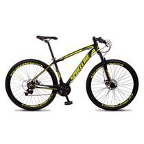 Bicicleta MTB Aro 29 Quadro 21 Alumínio 21 Marchas Freio Mecânico Vega Preto/Amarelo - Spaceline -