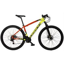 Bicicleta MTB Aro 29 Quadro 21 Alumínio 21v Freio Disco Mecânico Z7-X Amarelo/Vermelho - Dropp -