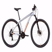 Bicicleta MTB Caloi 29 Aro 29 - Câmbio Shimano Freio a Disco - 21 Velocidades - Prata -
