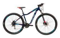 "Bicicleta MTB Caloi Atacama feminina Aro 29 - Susp Diant - 15"" - 24 Vel - Azul -"