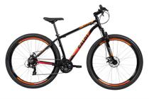 Bicicleta MTB Caloi Vulcan Aro 29 - Susp Diant - Quadro 17 - Shimano - 21 Vel - Freio a Disc - Preto -