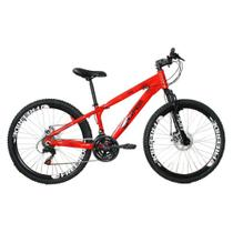 Bicicleta MTB Freeride Aro 26 Freio a Disco 21 Velocidades Shimano Vermelho Neon - Gios FRX Freeride -