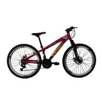 Bicicleta MTB Freeride TUFF25 Aro 26 Freio a Disco 21 Velocidades Câmbios Shimano Rosa Roxo - Viking - Viking-X