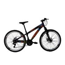 Bicicleta MTBFreeride TUFF25 Aro 26 Freio a Disco 21 Velocidades Câmbios Shimano Roxo Amarelo-Viking - Viking-X