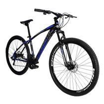 Bicicleta New South Odyssey - 21 Marchas - Freios a Disco - Preto e Azul - Tamanho 17 -