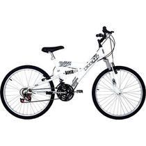 Bicicleta Polimet Kanguru Aro 24 18 Marchas Full Suspension - Branca -
