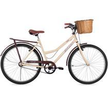 Bicicleta Retrô Aro 26 Freio V-Brake Panda Bege e Marrom com Cestinha de Vime - Status Bike