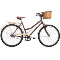 Bicicleta Retrô Aro 26 Freio V-Brake Panda Marrom e Bege com Cestinha de Vime - Status Bike
