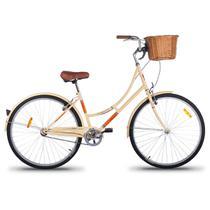 Bicicleta Retrô Imperial Aro 26 1V Shimano Bege com Cesta de Vime - Mobele
