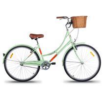 Bicicleta Retrô Imperial Aro 26 1V Shimano Verde com Cesta de Vime - Mobele