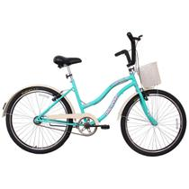 Bicicleta Retro Vintage Aro 26 Feminina Beach Azul Turquesa - Dalannio Bike