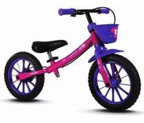 Bicicleta Sem Pedal Balance Bike Infantil Feminina Nathor Rosa e Roxo -
