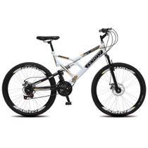 Bicicleta Snow Aro 26 Dupla Suspensão Freios a Disco 21 Marchas - Branco -