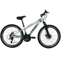 Bicicleta Viking X TUFF25  Freeride Aro 26 Freio a Disco 21 Velocidades Cambios Shimano Branco Verde Vikingx -