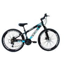 Bicicleta Viking X TUFF25  Freeride Aro 26 Freio a Disco 21 Velocidades Cambios Shimano Preto Azul Vikingx -