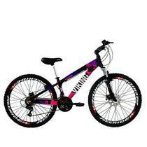 Bicicleta Viking X TUFF25  Freeride Aro 26 Freio a Disco 21 Velocidades Cambios Shimano Preto Rosa Vikingx -