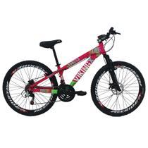 Bicicleta Viking X TUFF25 Freeride Aro 26 Freio a Disco 21 Velocidades Cambios Shimano Rosa Verde Vikingx -