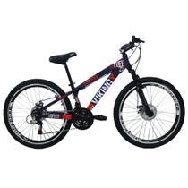 Bicicleta Viking X TUFF25  Freeride Aro 26 Freio a Disco 21 Velocidades Cambios Shimano Roxo Laranja Vikingx -