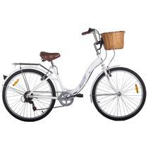 Bicicleta Vintage Retrô Hit Aro 26 7V Shimano Branca Mobele -