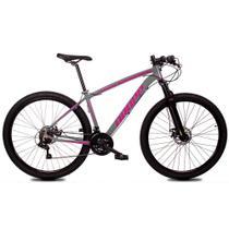 Bicicleta Z1-X Quadro 17 Aro 29 Alumínio 21 Marchas Freio Disco Mecânico Cinza Rosa - Dropp -