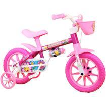 Bicicletinha Bicicleta Infantil Menina Aro 12 Flower Nathor -