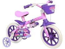 Bicileta Infantil Aro 12 Nathor Cat Rosa - com Rodinhas com Cesta Freio V-Break