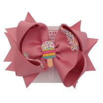 Bico de Pato GG Infantil Laço Confete Rosa - Styllos Kids