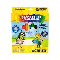 Big Lápis de Cor Triangular 4mm 12 Cores Acrilex -