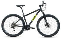 Bike Aro 29 - Tam. 17 - 21v - RAVA PRESSURE Preto e Verde Câmbio Shimano Quadro Alumínio -