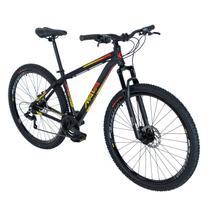 Bike Aro 29 - Tam. 17 - 21v - RAVA PRESSURE Preto, Vermelho e Amarelo Câmbio Shimano Quadro Alumínio -