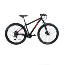 Bike Aro 29 - Tam. 17 - 27v - RAVA PRESSURE Preto e Vermelho Câmbio Dianteiro Shimano Freio hidráulico Quadro Alumínio -
