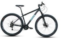 Bike Aro 29 - Tam. 19 - 21v - RAVA PRESSURE Preto e Azul Câmbio Shimano Quadro Alumínio -
