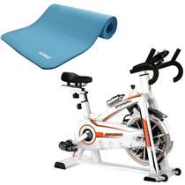Bike Spinning ONeal TP1100 Semi Profissional + Colchonete EVA Azul Yoga Pilates LIVEUP -