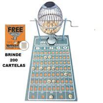 Bingo Profissional Nº 1 (pequeno) Globo Cromado com 200 cartelas - Treis Reis