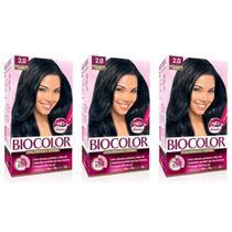 Biocolor Tintura Capilar Kit 2.0 Preto Azulado (Kit C/03) -