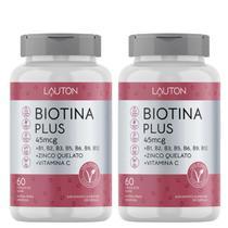 Biotina Concentrada com Vitaminas B + C + Zinco - Kit 2 Potes Lauton - Cabelo - Pele e Unha -
