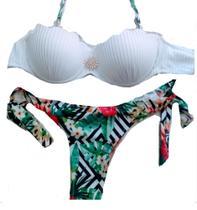 Biquíni duas cor branco com estampa verão - Arte Decor Lojinha