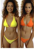Biquíni Dupla Face Amarelo e Laranja Sob Top Triângulo com Bojo -