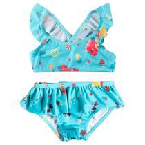 Biquini Infantil Alcinha com Babados - Azul - Frutas - Minimi -